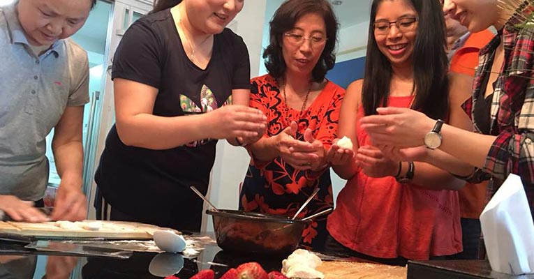 making dumplings with a local family
