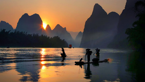 Li River Sunset View and Fishermen