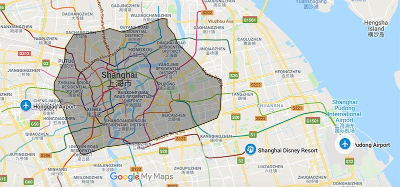 a map of hotels in the pick up range in Shanghai