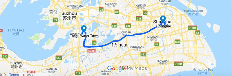 Map of Shanghai Tongli and the driving route