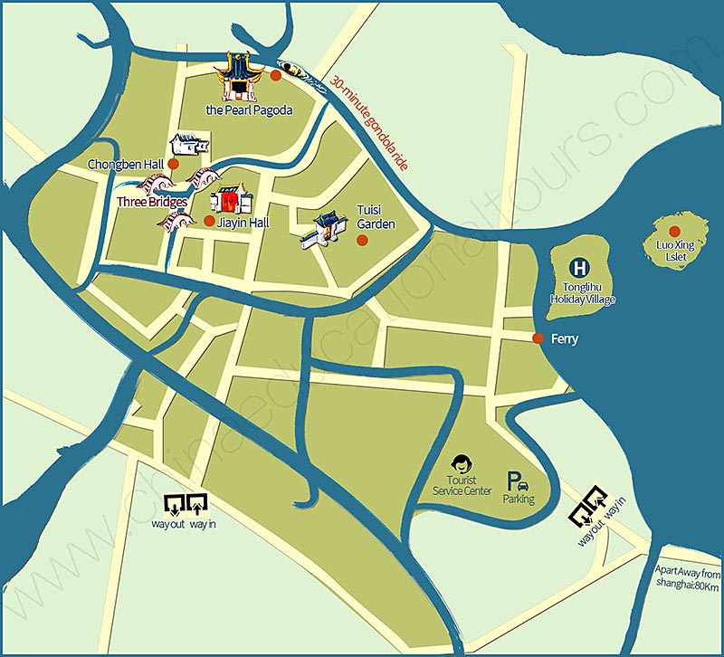 a map of the attraction sites inside Tongli