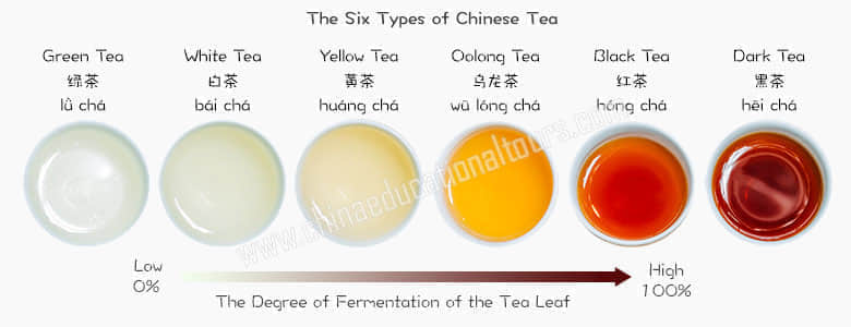 The 6 type of Chinese tea