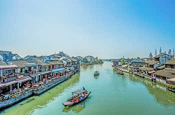 the summer view of zhujiajiao town in shanghai