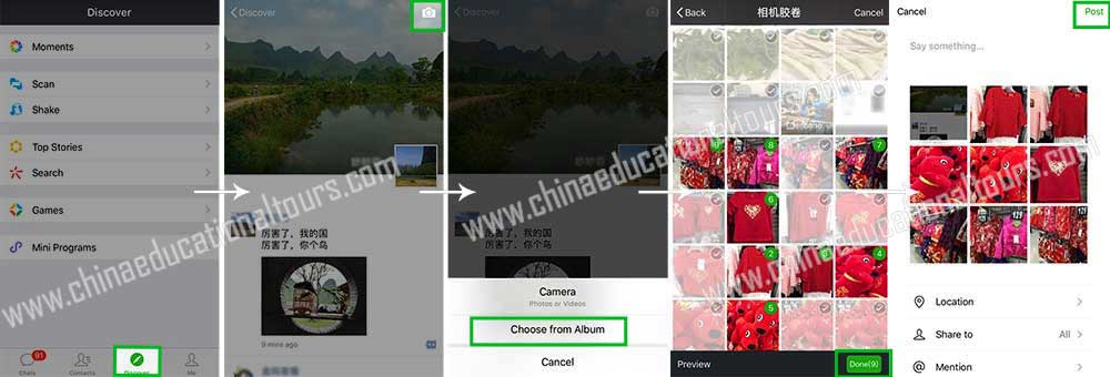 Wechat share photos from camera roll