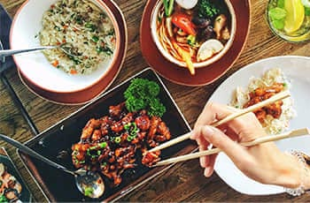 foods and chopsticks