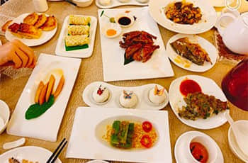 a table of dishes of lujiang harbourview hotel