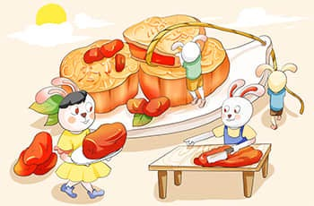 rabbits are cooking mooncakes