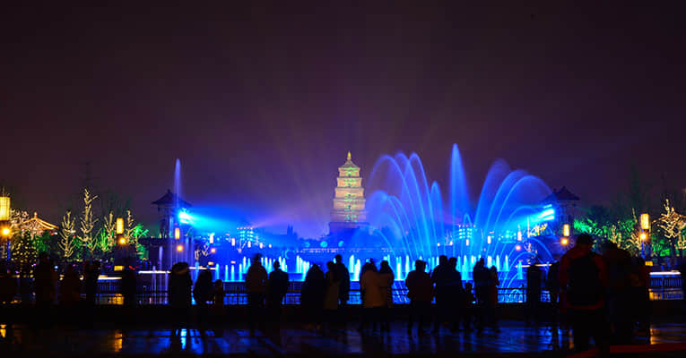 the music fountain at the north square of big wild goose pagoda