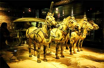 colored bronze horses and carts