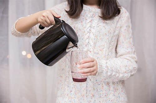 drinking plain hot water