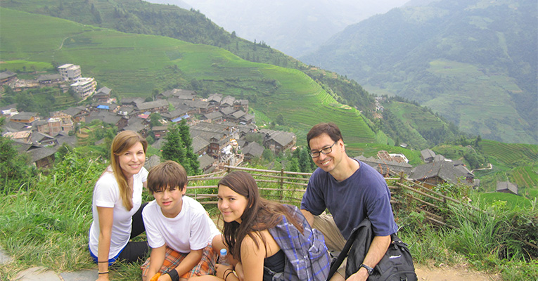 a family visit ping'an village of longsheng rice terraces
