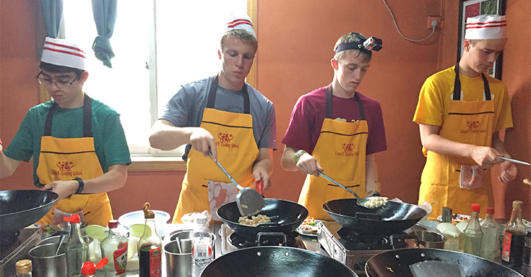 students learning cooking