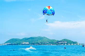 interesting paragliding over the sea