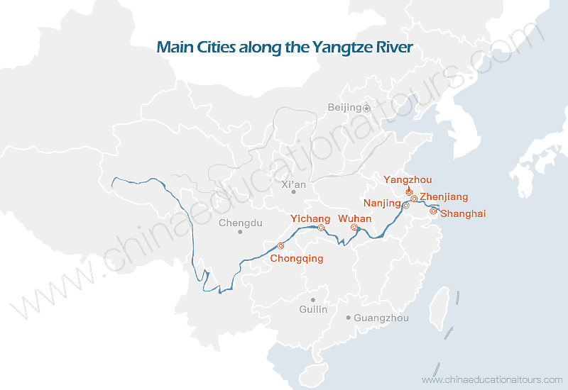 a map of the main cities along the Yangtze River