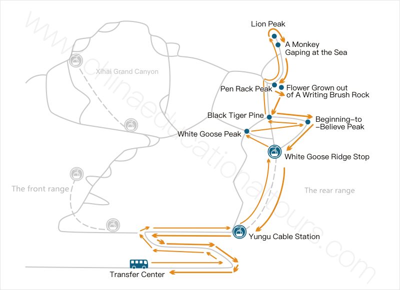 a map for the easiest way to climb yellow mountain