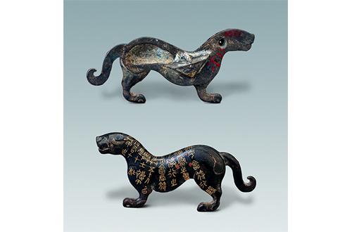 bronze tiger-shaped tally