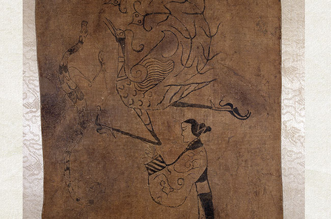 silk painting of female and phoenix
