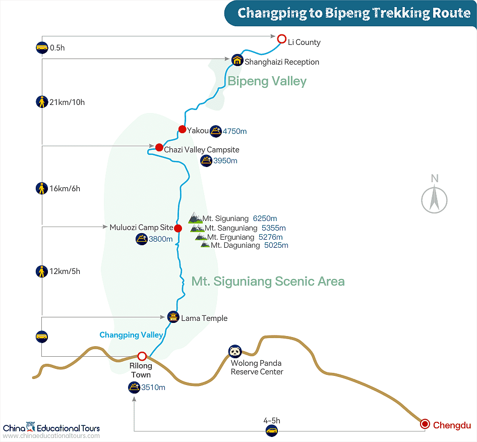 Changping Valley to Bipeng Valley Trekking Route